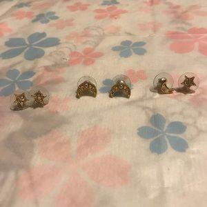 Star Moon Crescent Opal Earrings